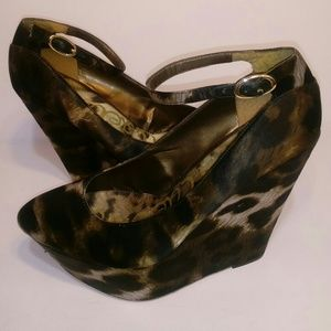 💎SAM EDELMAN HIGH WEDGE ANIMAL PRINT HEEL